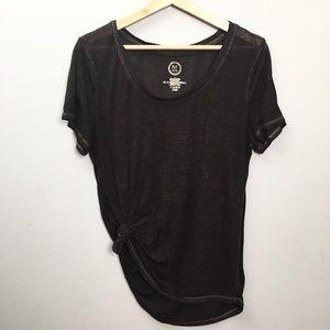 🍁 Mairices Tie Front Black Tissue T-shirt Size L